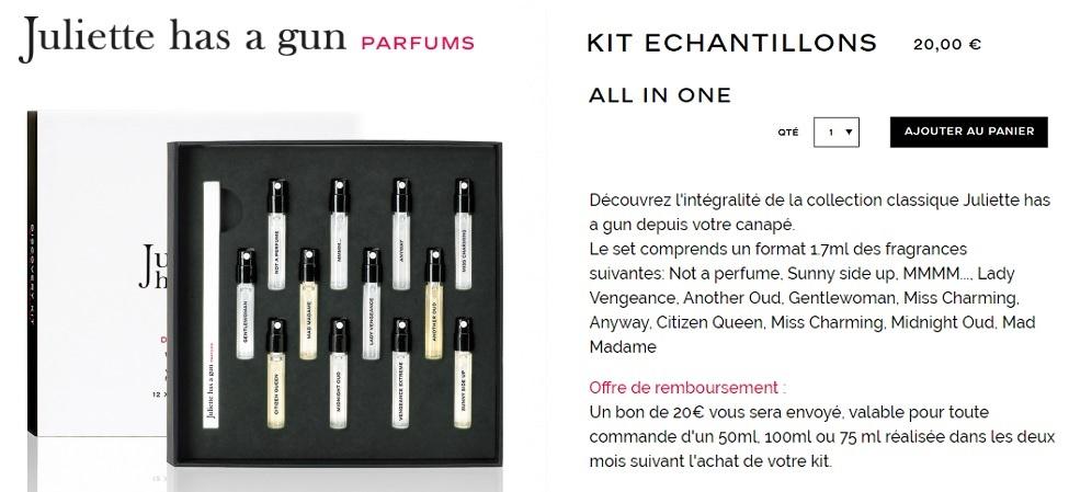 kit echantillons juliette has a gun 2018