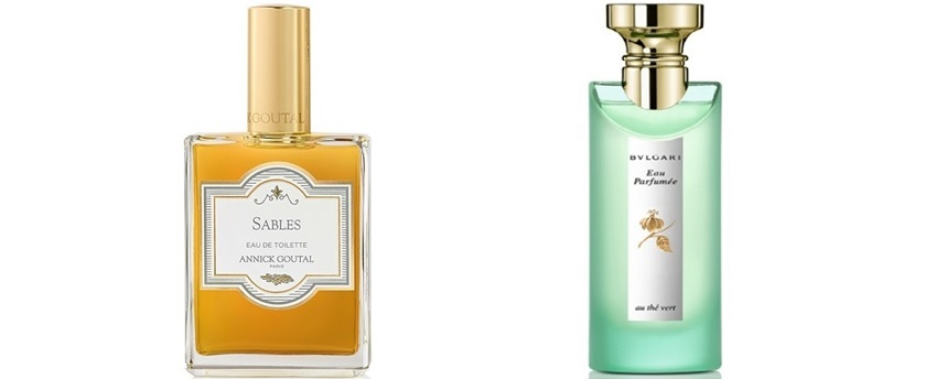 Sables (Annick Goutal), Eau parfumée au thé vert (Bulgari)