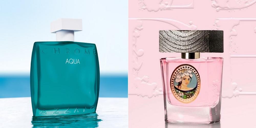 Chrome Aqua (Azzaro) et L'Eau de Gina (Au Pyas de la Fleur d'Oranger), photos marques. Photos d'entête : Magnolia Folie (Roger & Gallet) et Bouchron Fleurs, photos Parfumista