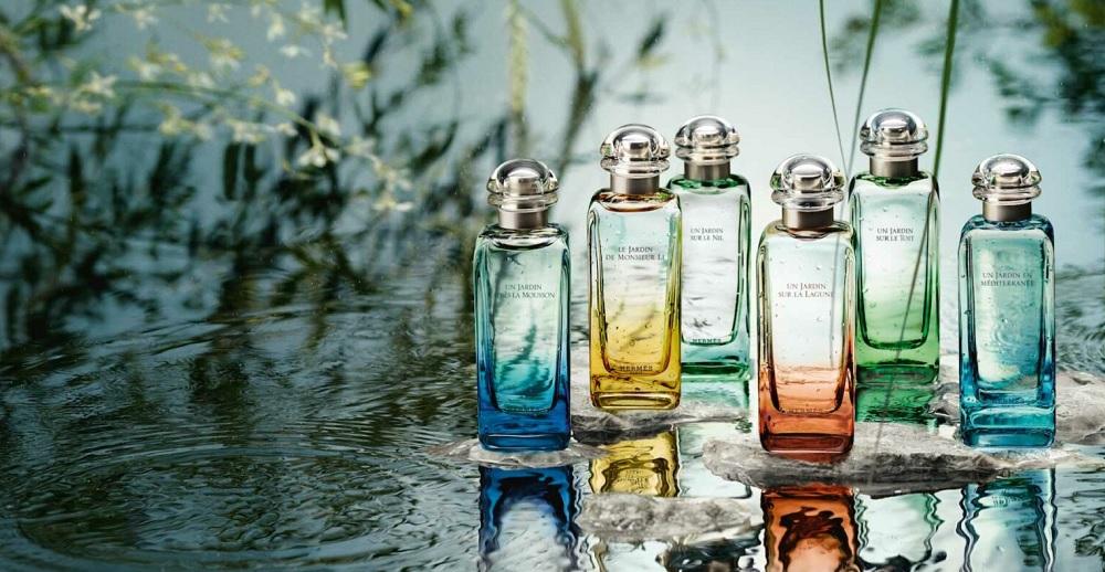 Les différents parfums de la ligne des Jardins d'Hermès (photo : marque). Photp d'entête : Parfumista