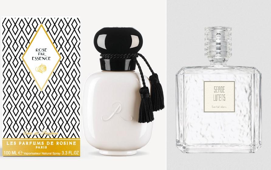 Rose par Essence (les Parfums de Rosine) et Santal blanc (Serge Lutens)
