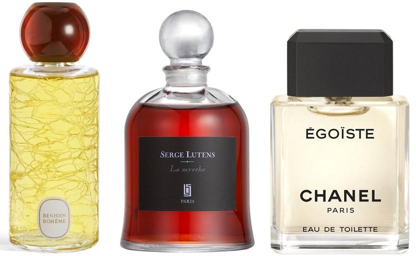 Benjoin Bohème (diptyque), La Myrrhe (Serge Lutens), Egoïste (Chanel)