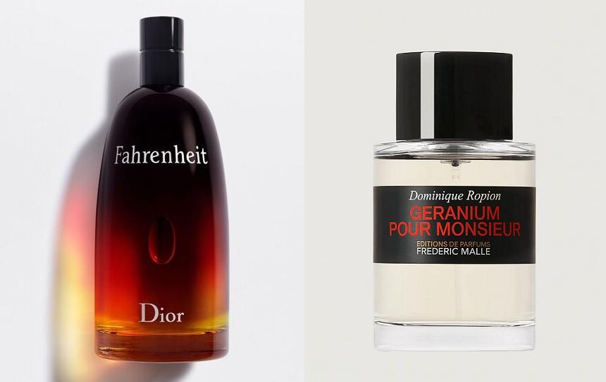 Fahrenheit (Dior), Géranium pour Monsieur (Editions de Parfums Frédéric mallle). Entête : Wonder Bouquet (Mugler)