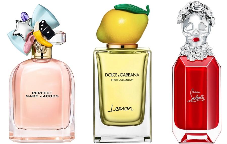 Certaines marques choisissent un bouchon décalé sur un flacon plus classique. Ici : Perfect de Marc Jacob, Lemon de Dolce & Gabbana et Loubikiss de Chrisstian Louboutin